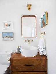 wall mount vessel sink faucets. Bathroom Design Copper Mirror Vessel Sink Brass Faucet For Wall Mount Faucets Emily Henderson