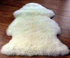 genuine sheepskin rug one pelt ivory fur 2 x 3