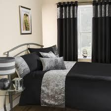 amalfi crushed velvet duvet cover set black