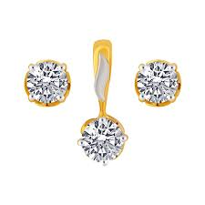 10kt yellow gold pendant earring set