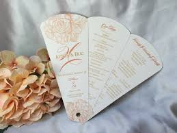 peony blossom petal fan wedding program
