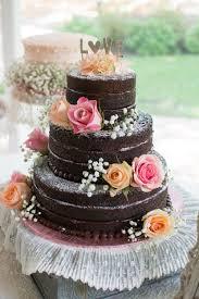 Cake Desserts Adorable Naked Chocolate Ganache Homemade Wedding
