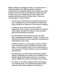 A Newspaper Article Types Of Newspaper Articles 1