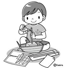 夏休みの工作モノクロ 子供と動物のイラスト屋さん わたなべふみ