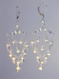 lisette pearl and crystal wedding chandelier earrings