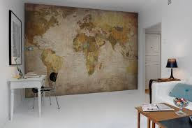 world map wall decor for creative home office design ideas with white color schemes