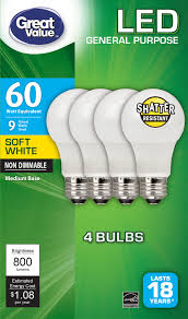 Walmart Great Value Led Light Bulbs Great Value Led Light Bulbs 4 Pack For As Low As 0 88 How