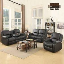 black leather living room furniture. Sofa Set Loveseat Chaise Couch Recliner Black Leather Living Room Furniture