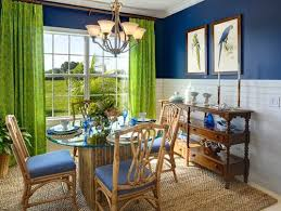 tropical dining room featuring navy blue and white walls with lime green ds dry street