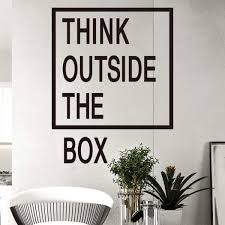 creative office wall art. Think Outside The Box Wall Quotes Decals Office Art Creative Sticker
