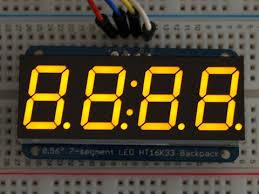 Adafruit <b>0.56 4</b>-<b>Digit 7</b>-<b>Segment</b> Display w/I2C Backpack - Yellow ID ...