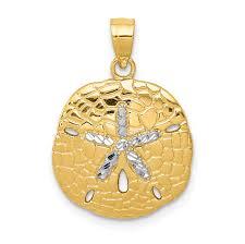 14k rhodium plated yellow gold rhodium polished diamond cut sand dollar pendant com