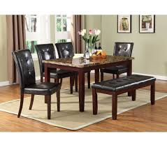 hampton rectangle brown faux marble dining set by urban styles