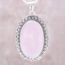 large oval rose quartz and sterling silver pendant necklace fairest beauty