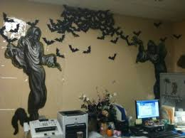 Halloween office decoration ideas Decoration Theme Haunted Wall Decor With Grim Reaper And Bat Cutouts Youandkids 55 Best Halloween Cubicle Ideas Worth Replicating At Your Office