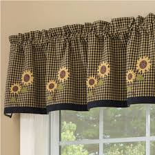 Primitive Country Kitchen Curtains Country Valance Curtains Sunflower Check Lined Valance 58