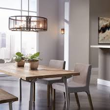 Dining Room Chandelier And Hanging Pendants Table Wooden Seat Light