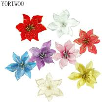 Us 202 35 Offyoriwoo 10pcs Artificial Christmas Flowers Glitter Poinsettia Fake Flowers Home Decor Merry Christmas Tree Ornaments Xmas Tree In