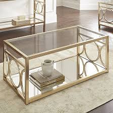 steve silver olympia coffee table in polished gold chrome finish ol100cg new
