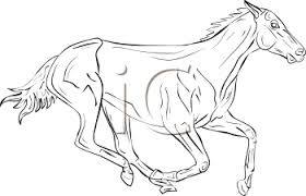 running horse clipart black and white. Unique White Black And White Image Of A Running Horse In Vector Clip Art Illustration   Royalty Free Clipart For And