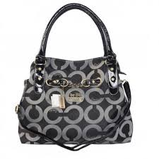 Coach Chain Logo In Monogram Medium Black Satchels BOM
