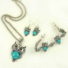 details about silver retro jewelry sets crystal owl pendant earrings necklace bracelet