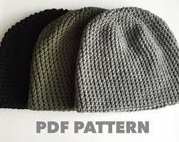 Mens Crochet Beanie Pattern Extraordinary One Hour Mens Beanie Crochet Pattern Bulky Gray Mens Beanie Etsy