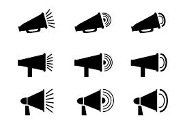シンプルなアイコンタイプのメガホンクリップアート素材9種類 All