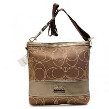 Coach Swingpack In Signature Medium Khaki Crossbody Bags AXD