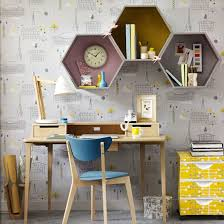 retro home office. retro home office with statement wallpaper and hexagonal wall shelves e