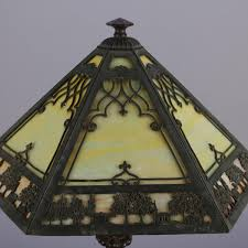 antique arts and crafts scenic bradley and hubbard school slag glass lamp for at 1stdibs