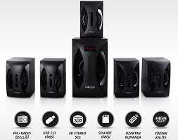 Mikado MD-512 5+1 Siyah FM Radyolu Ses Sistemi Speaker Fiyatları ve  Özellikleri