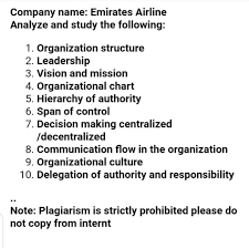 Delegation Of Authority Chart Solved Company Name Emirates Airline Analyze And Study T