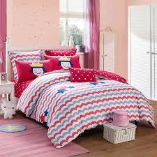 cerise red grey white and blue zigzag stripe and star print unique reversible 100 cotton twin full queen size bedding sets