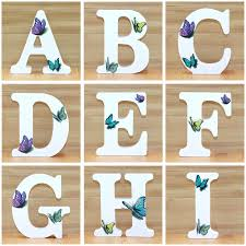 Letters In Design Us 0 59 34 Off 1pc 10cm 3d Butterfly Wooden Letters Decorative Alphabet Word Letter Name Design Art Crafts Hand Made Standing Shape Wedding Diy In