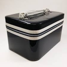 vine 1960s shiny black vinyl cosmetic case mod pin up model top handle carry on travel bag make up storage