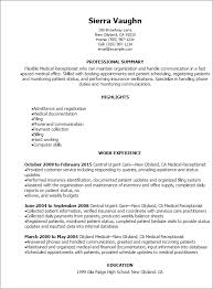 Reception Resume Professional Medical Receptionist Resume Templates To