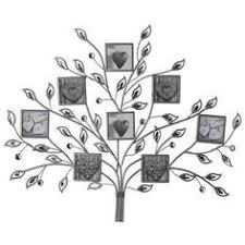 eight photo frame jewelled metal tree wall art grey