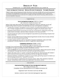 Healthcare Professional Resume Sample Health Information Technician Sample Resume Monster Com