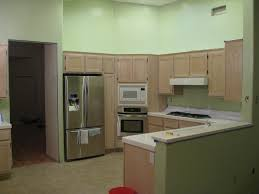 colors green kitchen ideas. Kitchen. Smooth Green Wall Theme And Brown Wooden Kitchen Cabinet Connected By Stainless Steel Refrigerator Colors Ideas E