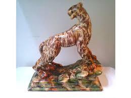Royal Hickman Design For Haeger 11 Male Panther On Crag Amber