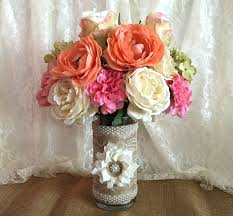 burlap and lace covered glass vase wedding decoration bridal shower decoration home decoration gift or for you