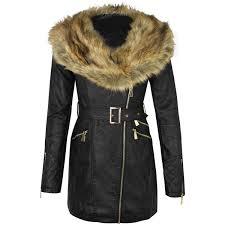 womens las faux leather fur collar long biker