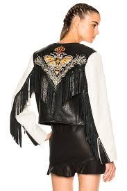 isabel marant etoile kirk embroidered bubble leather jacket chalk womens specials isabel marant new