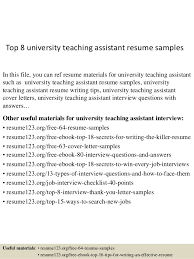 teaching assistant resume sample top 8 university teaching assistant resume samples