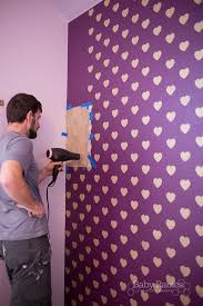 how to get crisp stencil lines on a textured wall heart wall tutorial from babyrabies