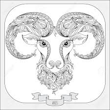 Pattern For Coloring Book Hand Drawn Line Flowers Art Of Zodiac Aries Horoscope Symbol For Your Use For Tattoo Art Coloring Books Set
