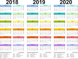 3 Year Calendar 2018 2019 2020 Calendar 4 Three Year Printable Pdf Calendars