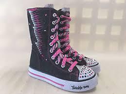 sketchers light up shoes girls. image is loading 10436l-girls-skechers-light-up-high-top-boots- sketchers light up shoes girls