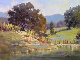 spring patterns plein air landscape oil painting by texas modern impressionist jimmy longacre